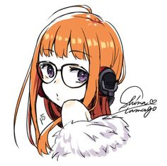 1girl :o artist_name artist_request bare_shoulders glasses headphones highres long_hair looking_at_viewer orange_hair persona persona_5 sakura_futaba shin_megami_tensei shirt solo violet_eyes white_background