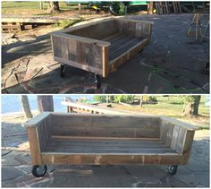 I built this sofa out of repurposed pallets because I wanted something nice and I wanted to get rid of the pallets from my stone patio project. With a new