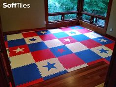 A patriotic themed children's playroom floor using red, white, and blue SoftTiles Die-Cut Stars Foam Mats. You can create kids play mats of any size!