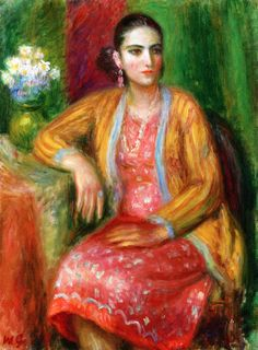 Realist painter William James Glackens (American: 1870 – 1938) | Luisa in a Pink Dress