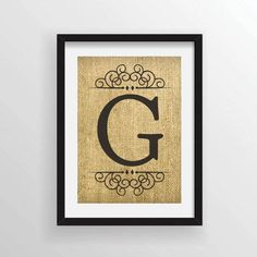 Custom Burlap Art Print - Large Monogram with Ornate Details on Top and Bottom on Actual Burlap Fabric Burlap Art, Burlap Fabric, Monogram Wall, Printing On Burlap, Dictionary Art, 10 Frame, Craft Items, All Print, One Pic