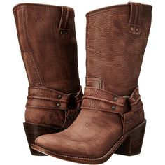 Frye Carmen Harness Short Cowboy Boots ($298) ❤ liked on Polyvore featuring shoes, boots, mid-calf boots, leather cowgirl boots, mid calf heel boots, vintage leather boots, distressed leather boots and western boots