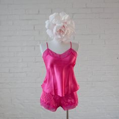 Satin Top & Shorts Lingerie Set - Bright Pink | Mentionables