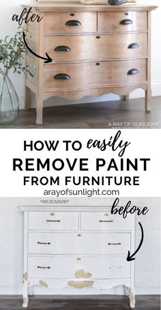 How to strip paint off of vintage furniture (when it's chipping and damaged) to repaint your furniture, or to show off the natural wood. Use this simple trick to make the citristrip stripper work even better! By A Ray of Sunlight Repaint Wood Furniture, Stripping Furniture, Repainting Furniture, Diy Furniture Redo, Painted Bedroom Furniture, Refurbished Furniture, Furniture Projects, Vintage Furniture, Repurposed Furniture