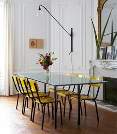 A fresh, colorful dining room by Paris based designer, Luis Laplace.