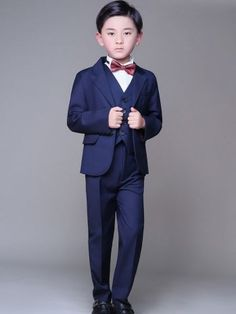 Solid Color Turn-down Collar Long Sleeves T-shirts&Vest&Coat&Pants&Tie Boy Sets