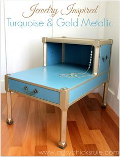 Turquoise Chalk Paint & Gold Metallic Makeover {jewelry inspired} - Artsy Chicks Rule