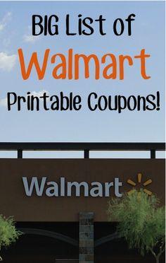BIG List of Walmart Printable Coupons!