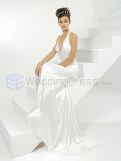 Satin Halter Chapel Train Elastic A-line Wedding Dress Wedding Dress Chiffon, Cute Wedding Dress, Wedding Dress Styles, Casual Wedding, Beaded Wedding Gowns, Wedding Dresses 2014, Gown Wedding, Bridesmaid Dresses, Wedding Gown Cleaning