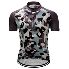 Men Cycling Clothing Bike Short Sleeve Jersey Bib Shorts Sportswear  Camouflage ca9a3bf16