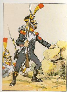 Volteggiatore del 8 rgt. Fanteria leggera in grande uniforme nel 1809
