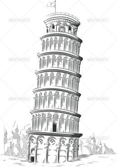 Buy Sketch of Leaning Tower of Pisa by BluezAce on GraphicRiver. A vector image of an architectural landmark of Italy: the Leaning Tower of Pisa. Architecture Concept Drawings, Arch Architecture, Arte Elemental, Pisa Tower, Line Art Vector, City Drawing, Architecture Presentation Board, Pisa Italy, Building Sketch