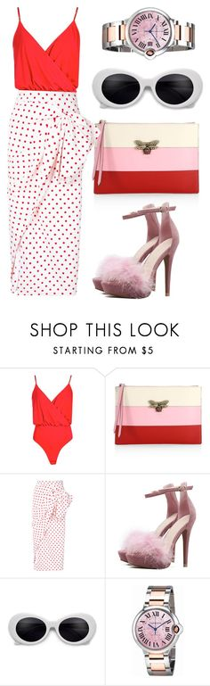 """""""Pink n red"""" by kezhea ❤ liked on Polyvore featuring Boohoo, Gucci, Bambah and Cartier"""