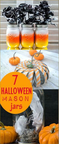 7 Halloween Mason Jar Projects.  Halloween crafts for the home.  Halloween centerpieces full of Halloween spirit!