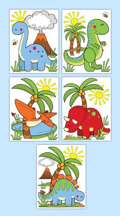 DINOSAUR PRINTS or DECAL Wall Art Boy Dino Nursery Stickers Room Baby Decor Kids Room Childrens Prehistoric Bedroom Party Shower Decorations #decampstudios