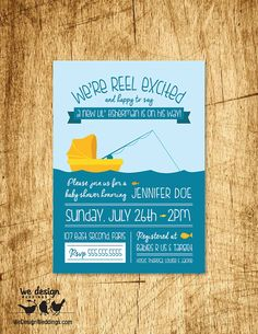 Printable - Fishing Baby Shower Invitation, Custom. Welcome the fisherman with an adorable design and cute fish!