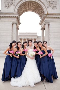 San Francisco #bride Natalie opted for David's Bridal's stylish high low #bridesmaid dresses in ultra sophisticated Marine blue for her black tie wedding at the Palace Hotel. See their dresses: http://bit.ly/JGAisB
