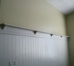 how to make your own beadboard wall with shelf, thanks to the House of Smiths! want to do this in future nursery.