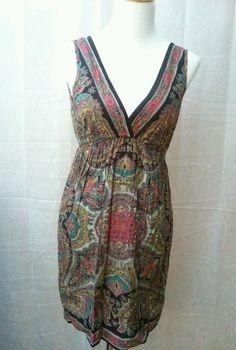 ANGIE Multi-Colored Paisley Blouse Women Tunic Dress Top Size Small Hippie Boho #Angie #Shift