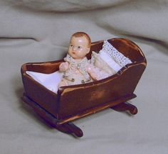 Vintage Wooden Cradle Small Doll