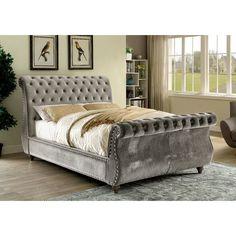 Adeline Modern Padded Fabric Sleigh Bed - Cal King - Gray - Furniture Of America, Sleek Gray Bedroom Chair, Bedroom Sets, Bedroom Furniture, Bedroom Decor, Furniture Mattress, Sofa Bed, Fabric Sleigh Bed, Sleigh Beds, Headboards