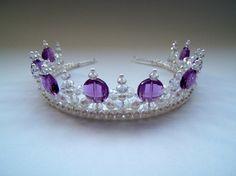 Princess Purple Regal Pearl and Crystal Tiara Diy Wedding Hair, Bride Headband, Fashion Jewelry, Women Jewelry, Princess Tiara, Alice Band, Tarnished Silver, Plastic Beads, Tiaras And Crowns