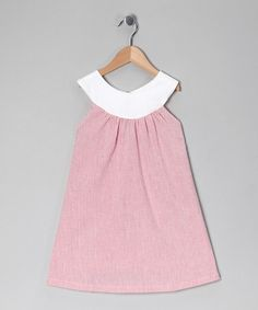 Take a look at this Burgundy & White Stripe Seersucker Yoke Dress - Toddler & Girls by Times Two on #zulily today!