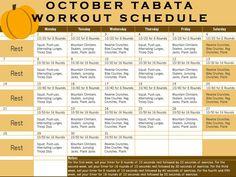 tabata training schedule | October Tabata Workout Calendar -