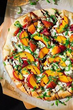 Three Cheese Peach and Prosciutto Pizza with Basil and Honey Balsamic Reduction - Cooking Classy (Grilled Pizza Recipes) I Love Food, Good Food, Yummy Food, Tasty, Prosciutto Pizza, Cooking Recipes, Healthy Recipes, Delicious Recipes, Vegetarian Food