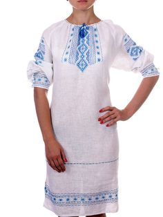 """UKRAINIAN WOMAN'S White LINEN/FLAX     PEASANT SLAVIC Dress    """"VYSHYVANKA""""    If you buy 5 or more any of my Embroidered Shirt,   I give you FREE SHIPPING    NEW HANDMADE EMBROIDERED   SIZE S M L XL XXL 3XL 4XL   (you can order any size)      Fabric - Linen (White)    Technique - cross lace    Yarn - Cotton (blue)    Completely handmade    Classic women's long sleeve embroidery done on gray linen.    Combines elements of geometric and floral ornament, which embellished lace.    Very fine…"""