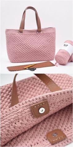 Crochet shopper with leather bottom pouch # crochet . # Crochet shopper with leather floor pouch # crochet . Annette annetteNRW Stricken, Häkeln & andere Handarbeit Crochet shopper with lea Crochet Tote, Crochet Handbags, Crochet Purses, Crochet Crafts, Crochet Baby, Knit Crochet, Free Crochet Bag, Crochet Summer, Blanket Crochet