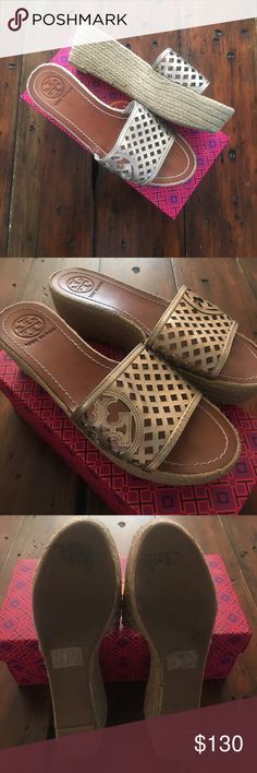 """Tory Butch Metallic Wedges 9 Worn ONCE! Excellent Condtion Tory Wedges in a Metallic Gold-Bronze upper and rope wedge. Wedge approx 2 1/2"""". Size 9!!! Box is Tory, but a different style-included. Tory Burch Shoes Wedges"""