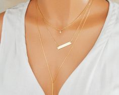 Tiny Heart Necklace, Gold Bar Necklace, Vertical Bar Necklace, Layered 3 Set Necklaces