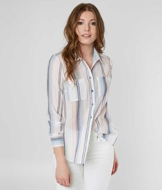 BKE Textured Shirt - Women's Shirts/Blouses in White Multi | Buckle
