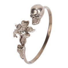 Alexander McQueen Silver Skull Bangle.