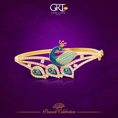 A sight that one can never forget- that of a #peacock prancing proudly amidst an awestruck audience! - #Gold #Bracelet #Peacock #Collections