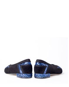 Black #suede and electric blue #glitter Approx. heel measure 2 cm Glittered heel Slip - on style Leather lining & outsole European sizing, fits true to size Also available in total black suede combined with glitter