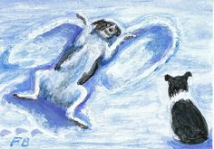 """Snow Angel Watch"" - an original ACEO painting featuring Border Collies, Sammy and Breagh, with Breagh watching Sammy make snow angels - by North Carolina artist, Fran Brooks. www.artistnannie.com"