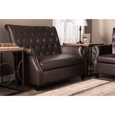 Baxton Studio Brixton Faux Leather Upholstered Button Ttufted 2-seater Loveseat - Brown