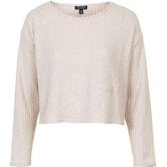 TOPSHOP Slouchy Pocket Top (€35) ❤ liked on Polyvore featuring tops, nude, slouchy tops, pink long sleeve top, topshop, pink top and long sleeve tops