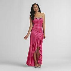 Pink slit prom dress