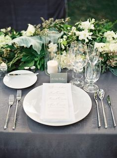 Elegant Gray and White Place Settings | Steve Steinhardt Photography | TheKnot.com