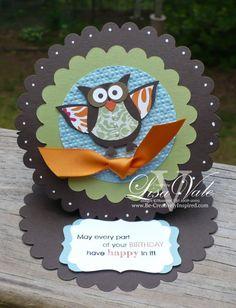owl easel card lisa vale   CUTE!