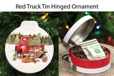 This ornament doubles as a beautiful ornament and creative holiday gift! Stuff cash, treats, or goodies inside the little storage tin for a re-useable gift everyone will love.  KP Creek Gifts. #countrychristmas #giftidea #holidaygiftideas #giftcards #farmhousechristmas #christmasdecor #gifts