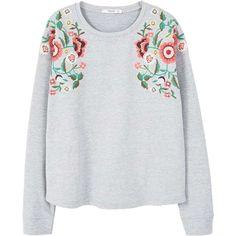 MANGO Floral embroidered sweatshirt (865 UYU) ❤ liked on Polyvore featuring tops, hoodies, sweatshirts, sweaters, shirts, cotton embroidered tops, cotton sweatshirts, shirt top, long sleeve cotton shirts and extra long sleeve shirts