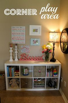 Kids room organization for books/toys - fab idea for keeping some toys and books in lounges and living rooms but tidy at the same time too.