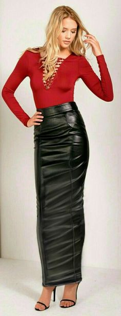 Red top and long black leather hobble skirt