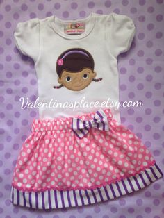 Adorable Doc Mcstuffins Birthday Outfit by Valentinasplace on Etsy Doc Mcstuffins Birthday Outfit, Doc Mcstuffins Toys, Third Birthday, Birthday Party Themes, Birthday Ideas, Pink Polka Dots, Disney Trips, Looking Gorgeous, Trending Outfits
