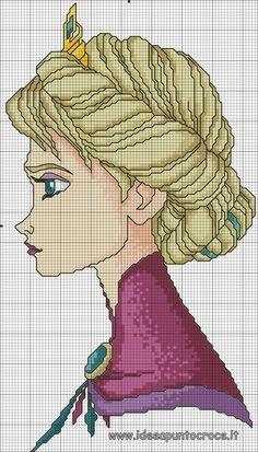 Discover ideas about frozen cross stitch. Cross Stitching, Cross Stitch Embroidery, Embroidery Patterns, Hand Embroidery, Disney Cross Stitch Patterns, Cross Stitch Charts, Cross Stitch Designs, Frozen Cross Stitch, Cross Stitch For Kids