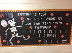 Halloween/Red Ribbon Week Rhythm Bulletin Board by Mr. Class Bulletin Boards, Halloween Bulletin Boards, Bullentin Boards, Music Classroom, Classroom Ideas, Music Teachers, Classroom Walls, Classroom Inspiration, Future Classroom
